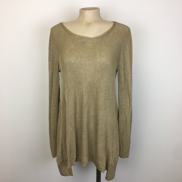 Eileen Fisher Gold Oversized Long Sleeve Top M